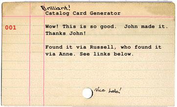 Catalogcardgenerator